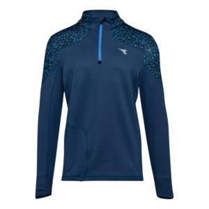 Diadora Warm Up T-Shirt Winter - Løbetrøje m. høj hals - Mørke Blå - Herre -Str. S