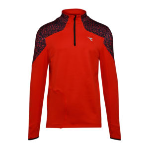 Diadora Warm Up T-Shirt Winter - Løbetrøje m. høj hals - Mørke Rød - Herre -Str. S