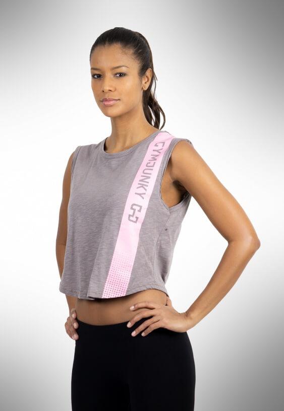 Gymjunky Women Edge Sleeveless T-Shirt Titan Grey
