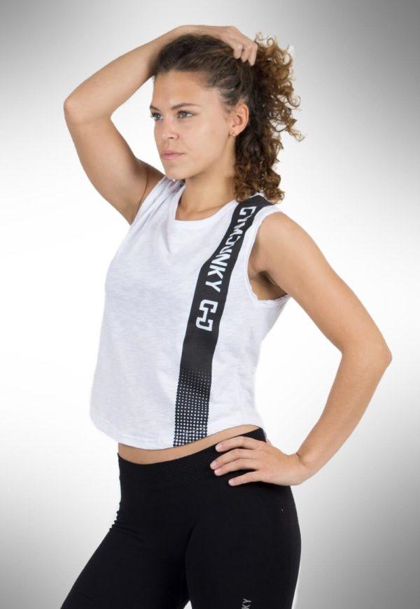 Gymjunky Women Edge Sleeveless T-Shirt White