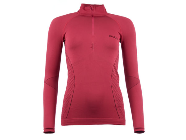 Odlo 1/2 zip Evolution warm - Langærmet bluse til dame - Bordeaux - Str. L