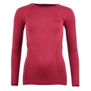 Odlo Evolution Warm - Langærmet bluse med rund hals til dame - Bordeaux - Str. XL