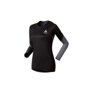 Odlo - Shirt l/s crew neck - Vindtæt løbebluse - Dame - Sort/grå - Str. XL