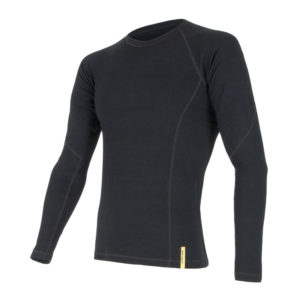 Sensor Merino DF Tee LS - Uld T-shirt med lange ærmer - Herre - Sort - Str. XXL