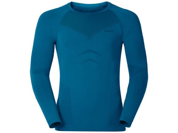 Odlo herre langærmet shirt - Crew Neck Evolution Warm - Sort/blå - Str. M