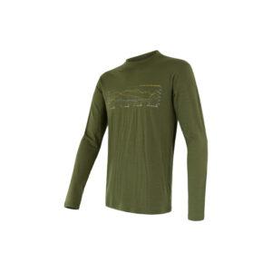 Sensor Merino Active Performance - Uld T-shirt med lange ærmer - Herre - Grøn - Str. L