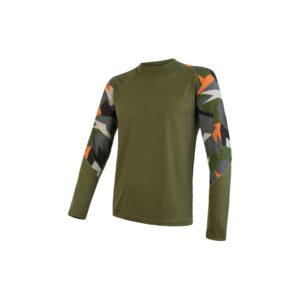 Sensor Merino Impress - Merinould T-shirt med lange ærmer - Herre - Safari/Camo - Str. XL