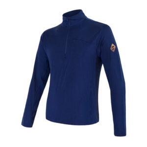 Sensor Merino Exr. - Merinoulds T-shirt, lg. ærmer, lynlås i hals - Herre - Blå - Str. M