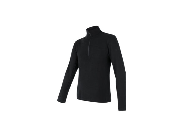 Sensor Merino Ext. - Merinoulds T-shirt, lg. ærmer, lynlås i hals -Herre- Sort - Str. XXL