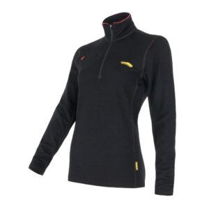 Sensor Merino Fleece Sweatshirt - Dame - Lynlås i halv længde - Sort - Str. L