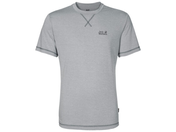 Jack Wolfskin Crosstrail T-Shirt - Hr. Str. L - Silver Grey