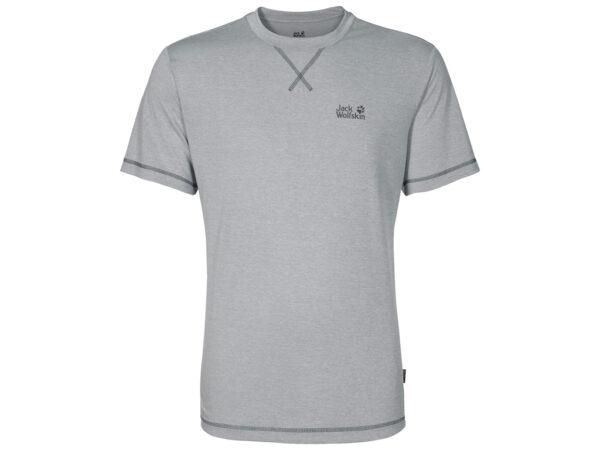 Jack Wolfskin Crosstrail T-Shirt - Hr. Str. M - Silver Grey