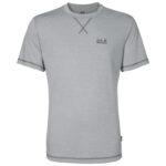 Jack Wolfskin Crosstrail T-Shirt - Hr. Str. XXL - Silver Grey