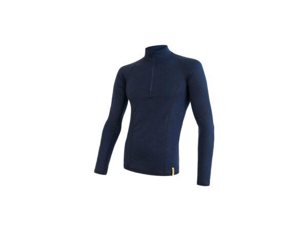 Sensor Merino DF - Merinoulds T-shirt m. lg. ærmer, lynlås i hals -Herre- Blå - Str. M