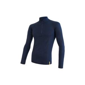 Sensor Merino DF - Merinoulds T-shirt m. lg. ærmer, lynlås i hals -Herre- Blå - Str. S